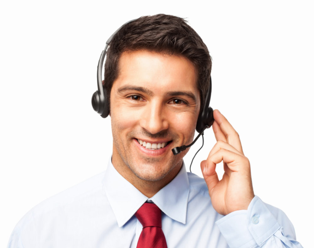 Call Center Operator On a Call - Isolated